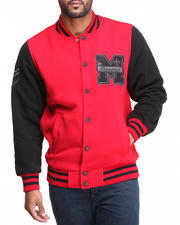 Men - Mo7 Red/Black Fleece Varsity Jacket