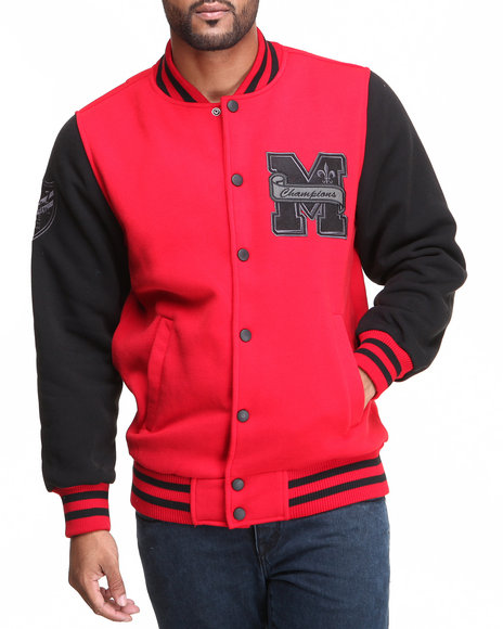 Mo7 - Men Red Mo7 Red/Black Fleece Varsity Jacket