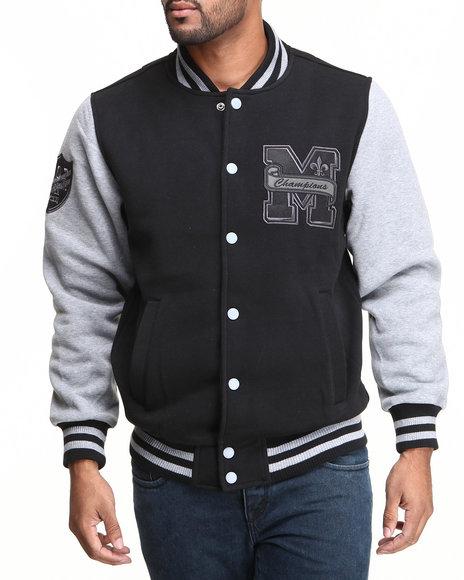 MO7 Black,Grey Mo7 Black/Grey Fleece Varsity Jacket