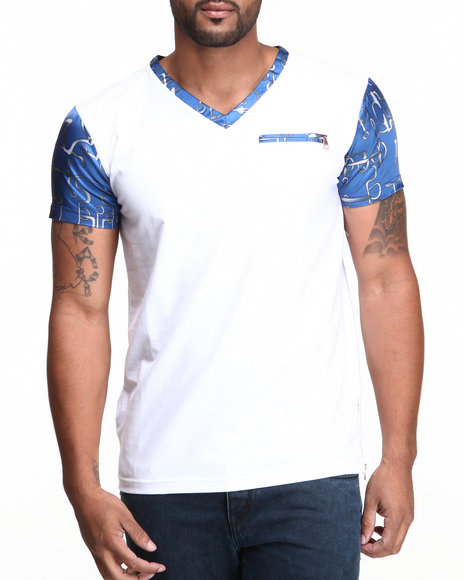 Forte' - Men White Ocean Silk V-Neck S/S Tee - $51.99