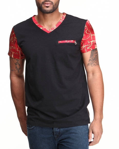 Forte' - Men Black Sun Silk V-Neck S/S Tee