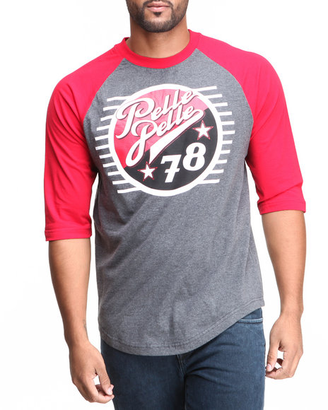 Pelle Pelle - Men Charcoal 3/4 Sleeve Raglan 78 Baseball Tee