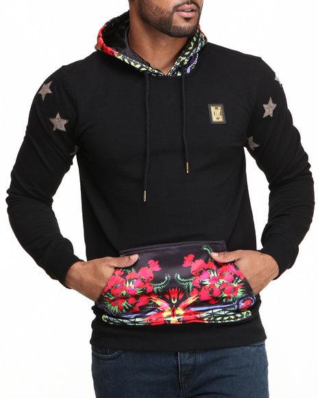 Forte' Black Stars & Flowers Silk Sleeve Hoodie