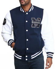 Men - Mo7 navy/white Fleece Varsity Jacket
