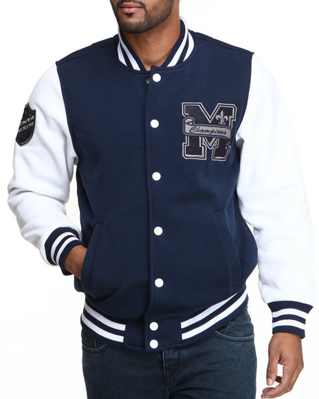 MO7 Navy Mo7 Navy/White Fleece Varsity Jacket
