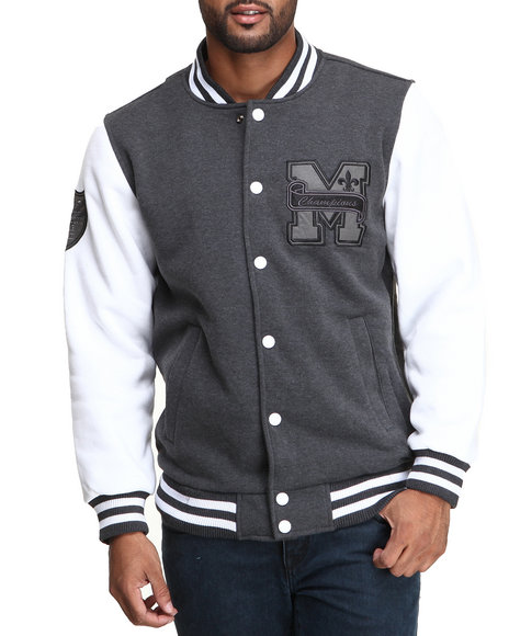 Mo7 - Men Charcoal Mo7 Heather Charcoal/White Fleece Varsity Jacket