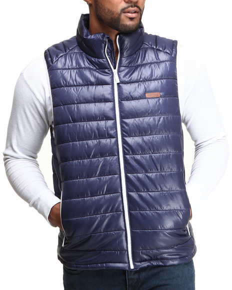 Mo7 - Men Navy Mo7 Contrast Lining Bubble Vest