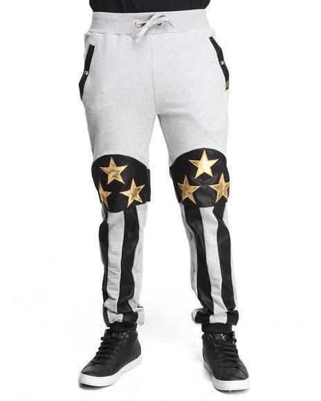 Forte' Grey American Flag Fleece Pants
