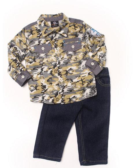 Akademiks - Boys Camo 2 Pc Set - Camo Woven & Jeans (Infant)