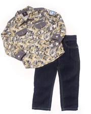 Holiday Shop - Boys - 2 PC SET - CAMO WOVEN & JEANS (2T-4T)