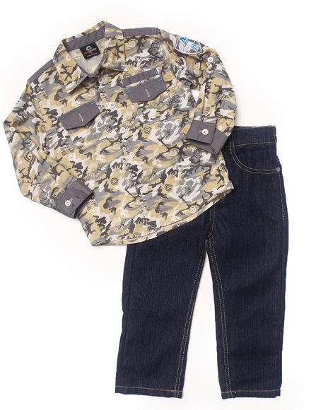 Akademiks - Boys Camo 2 Pc Set - Camo Woven & Jeans (2T-4T)