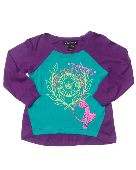 Baby Phat - Girls Purple L/S Color Block Top (2T-4T)