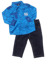 Holiday Shop - Boys - 2 PC SET - PRINTED WOVEN & JEANS (INFANT)