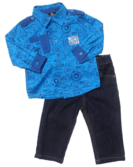 Akademiks Boys Blue 2 Pc Set Printed Woven & Jeans (Infant)