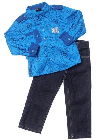 Akademiks Boys Blue 2 Pc Set Printed Woven & Jeans (2T-4T)