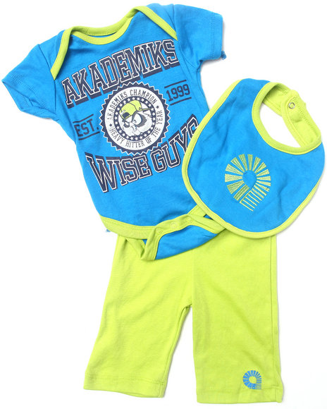 Akademiks - Boys Blue 3 Pc Set - Creeper, Pants, & Bib (Newborn) - $8.99