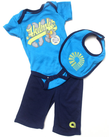 Akademiks - Boys Blue 3 Pc Set - Owl Creeper, Pants, & Bib (Newborn) - $12.99