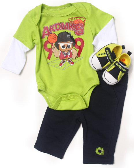 Akademiks - Boys Lime Green 3 Pc Set - Owl Twofer, Pants, & Shoes (Newborn)