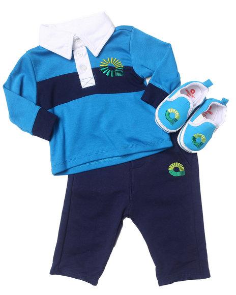 Akademiks Boys Blue 3 Pc Set Polo, Pants, & Shoes (Newborn)