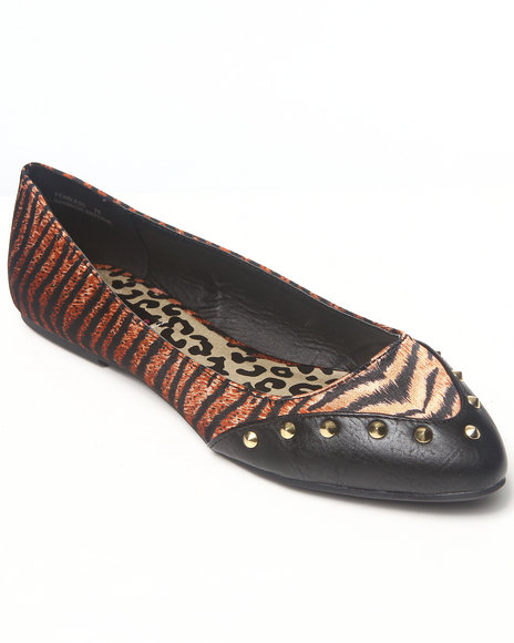 Dollhouse Animal Print Spikes Trim Animal Colorblock Flat