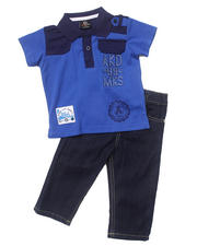 Holiday Shop - Boys - 2 PC SET - SOLID POLO & JEANS (INFANT)