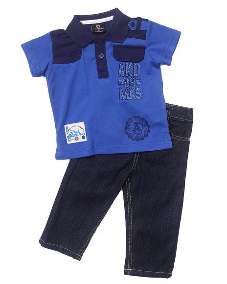 Akademiks Boys Blue 2 Pc Set Solid Polo & Jeans (Infant)