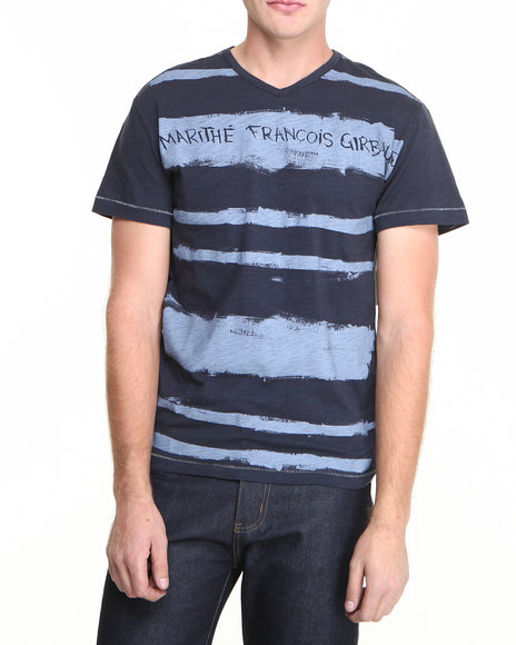 Girbaud - Men Black,White Painted Stripe Tee