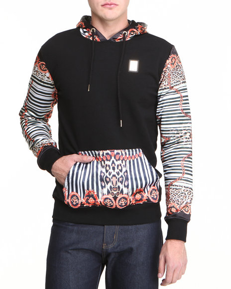 Forte' - Men Black Fire Chain Silk - Sleeve Hoodie