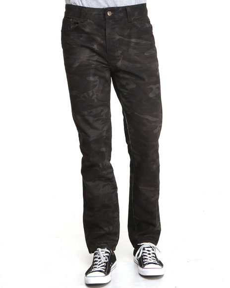 Mo7 - Men Brown,Camo Crinkle Wash Camo Denim Jeans