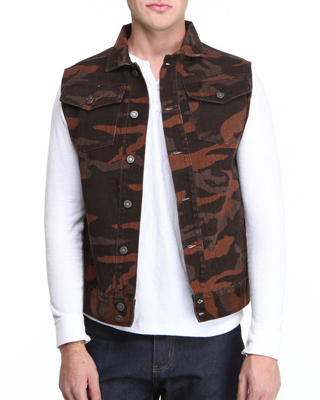 Pelle Pelle - Men Brown Espresso Camo Vest