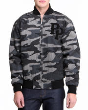 Men - Black Camo Chenille Pelle Pelle Jacket
