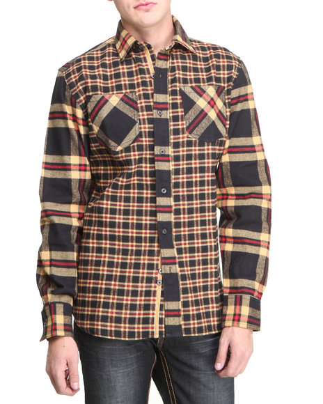 Pelle Pelle - Men Black Pelle L/S Plaid Flannel Button Down Shirt