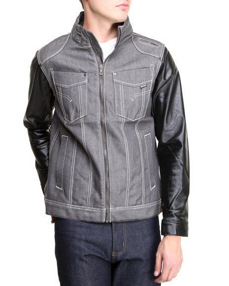Mo7 - Men Grey Mo7 Faux Leather Sleeve Denim Jacket
