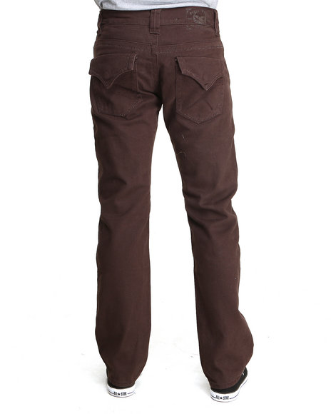 Pelle Pelle - Men Brown Espresso Flap Pocket Twill Pants