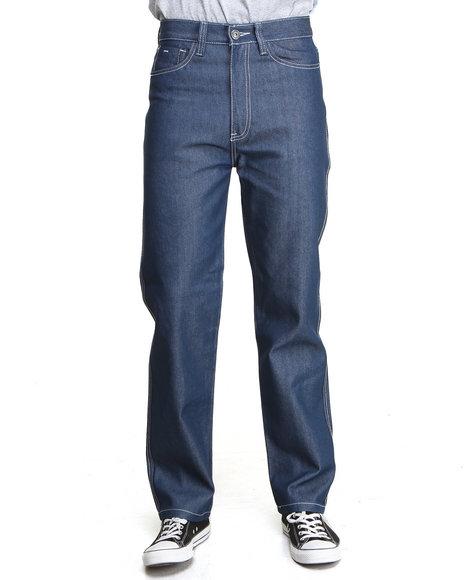 MO7 Medium Wash Contrast Stitching Straight Fit Denim Jeans