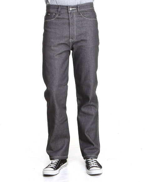 Mo7 - Men Grey Contrast Stitching Straight Fit Denim Jeans