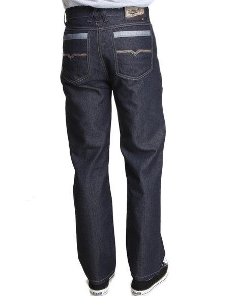 Mo7 - Men Dark Wash,Indigo,Raw Wash Cut & Sewn Pocket Straight Fit Denim Jeans