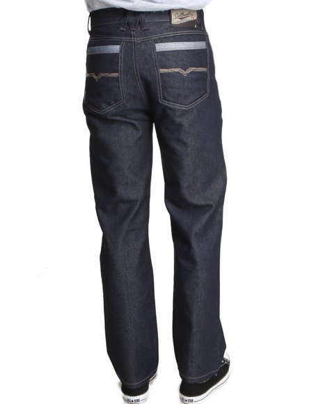 Mo7 Men Cut amp Sewn Pocket Straight Fit Denim Jeans Dark Wash 36x32