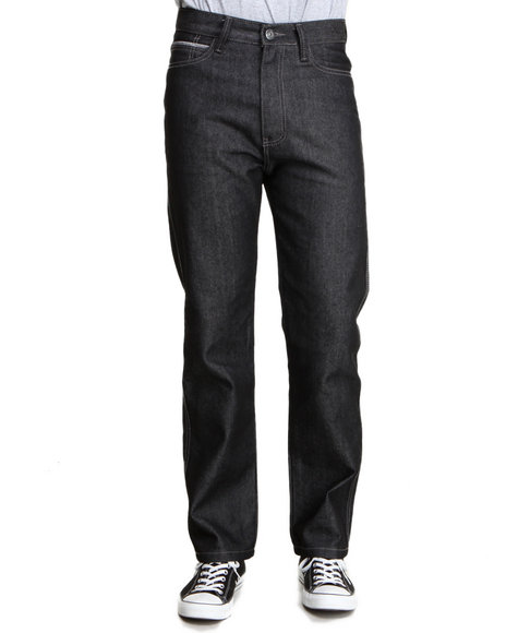 Mo7 - Men Black Classic Straight Fit Raw Denim Jeans