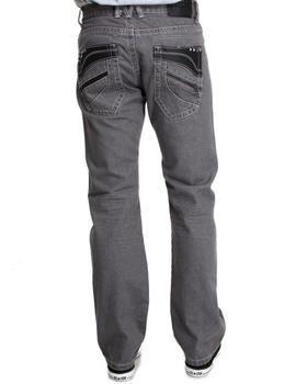 MO7 - PU Studded Back Pocket detail denim jeans