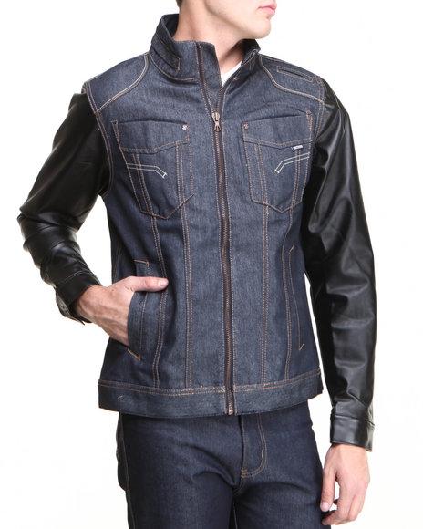 MO7 Dark Wash Mo7 Faux Leather Sleeve Denim Jacket