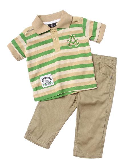 Akademiks - Boys Khaki 2 Pc Set - Striped Polo & Jeans (Infant)