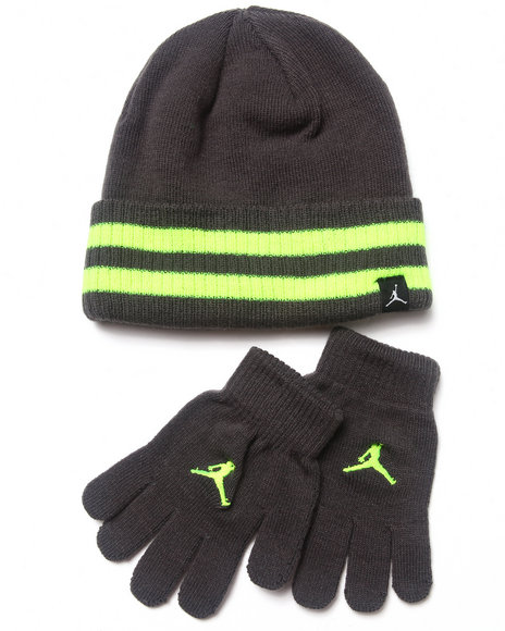 Air Jordan Boys Cuffed Beanie & Gloves Set (8-20) Grey