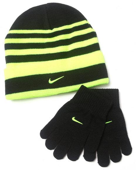 Nike Boys Striped Beanie & Gloves Set Black