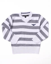 Sizes 4-7x - Kids - BOLD STRIPE V-NECK SWEATER (4-7)