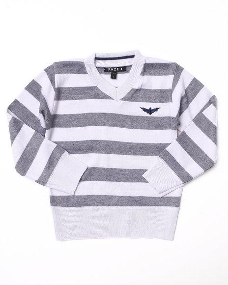 Arcade Styles Boys White Bold Stripe V-Neck Sweater (4-7)