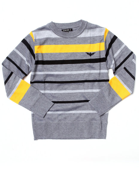 Arcade Styles Boys Grey Bold Stripe Crew Neck Sweater (8-20)
