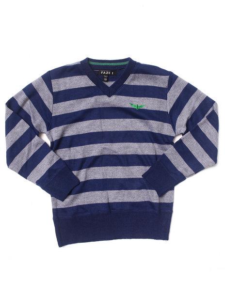 Arcade Styles Boys Bold Stripe VNeck Sweater 820 Navy Small