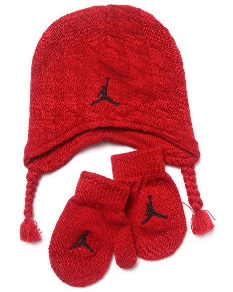 Air Jordan Boys Houndstooth Hat & Mittens Set (Infant) Red