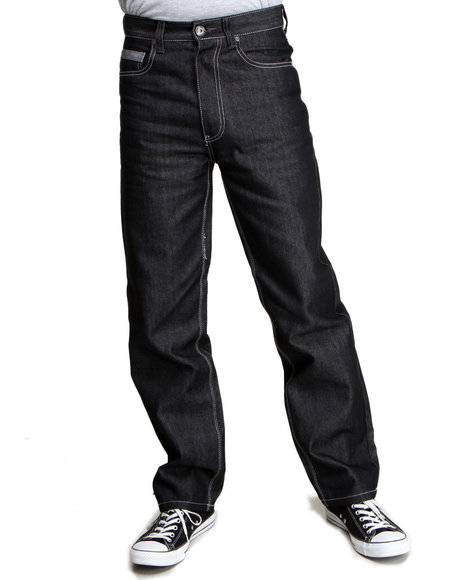 Mo7 - Men Black Cut & Sewn Pocket Straight Fit Denim Jeans